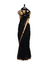 Black And Golden Net Lace Stitched Saree, Blouse And Underskirt - Nataasha Dubliish
