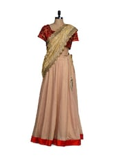 Beige And Red Silk Tussar Lehenga, With Choli And Dupatta With Zari Work - Nataasha Dubliish