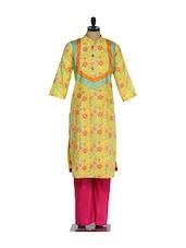 Yellow Floral Print Kurta With A Checkered Yolk And Polysilk Pink Salwar - Nataasha Dubliish