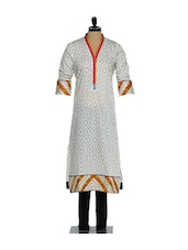 Elegant Full-sleeved Grey Printed Cotton Kurta With A Orange, Pink Placket And A Lycra Churidaar - Nataasha Dubliish
