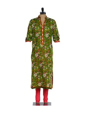 Green Full-sleeved Floral Print Kurta With A Pink Lycra Churidaar - Nataasha Dubliish