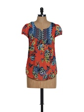 Floral Print Orange Top - Yepme
