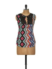 Aztec Print Tie Up Lace Trimmed Top - Yepme