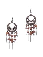 COPPER COLOUR DANGLERS WITH BROWN BEADS - THE BLING STUDIO