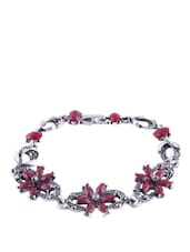ANTIQUE SILVER BRACELET WITH RED STONE FLOWER - THE BLING STUDIO
