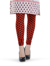 Red And Black Polka Dot Leggings - By