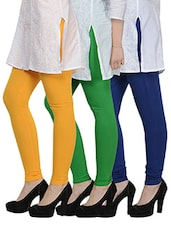 Cotton Lycra Leggings- Pack Of 3 - By