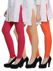 Cotton Lycra Leggings- Pack Of 3 - Tjaggies - 893127