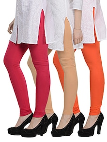 Cotton Lycra Leggings- Pack Of 3 - Tjaggies - 893127
