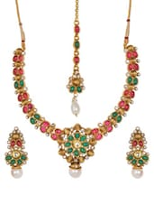 Rajwadi Textured Necklace, Earrings And Maang Tikka With Semi-precious Stones And Synthetic Pearls - SriyasCreation