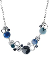 Blue and silver circular stone studded necklace -  online shopping for Necklaces