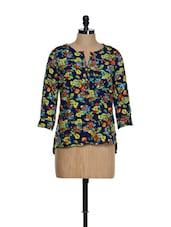 Navy Blue Base Floral Print Roll-up Sleeves Top - La Zoire