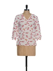 Cream Base V-neck Top With Pink Floral Prints - La Zoire