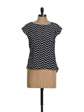 Black And White Chevron Prints Top - La Zoire