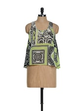 Green And Black Printed Trendy Top - La Zoire