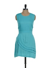 Sky Blue Sleeveless Dress With Vertical Panels Sliding Downwards - La Zoire
