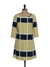 Ochre And Blue Geometrical Patterned Knee-length Dress - La Zoire