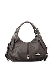 Faux Zipper Detail Bistre Brown Hobo Bag - Calvino
