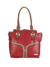 Faux Zipper Detailed Red Tote Bag - Calvino