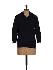 Navy Blue Cotton Knit Hoodie - Hypernation