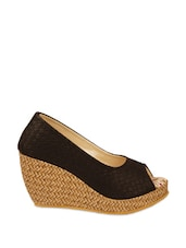 Stylish Black Peep-toe Wedge Heels - ZACHHO
