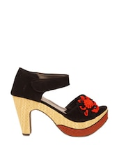 Stylish Black Block Heels With A Red Flower Trim - ZACHHO