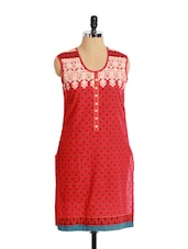 Stunning Red Printed Cotton Kurta With Patterned Neckline - Aaboli