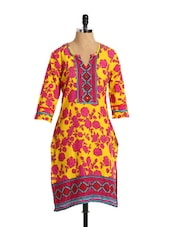 Bright Floral Print Cotton Kurta - Aaboli