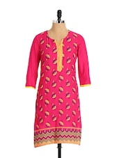 Beautiful Floral Print Cotton Kurta In Pink - Aaboli
