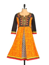 Stylish Red Printed Kurta With Embroidered Neckline And Zari - Aaboli
