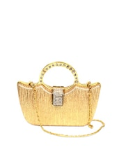 Blingy Gold Clutch Bag With Crystal Embellishments And A Metal Gold Sling - Reyna