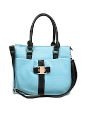 Sky Blue Crocodile Textured Tote Bag Which Comes With A Black Sling - Reyna