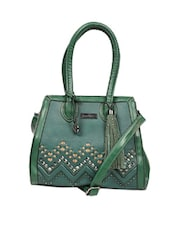 Green Stylish Tote Bag With A Zig Zag Pattern, Suede Tassels And Metal Stud Embellishments - Reyna