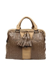Brown Crocodile Textured Tote Bag - Reyna