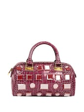 Purple Crocodile Textured Tote Bag With Glass Finished Fiber Crystals - Reyna