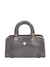 Grey Rectangular Crocodile Skin Textured Tote Bag - Reyna
