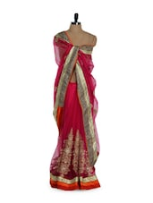 Beautiful Pink Net Saree With Stunning Zari Thread Embroidery And Stone Work - Purple Oyster