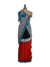Charming Black And Red Polka Dotted Saree In Georgette And Net - Purple Oyster