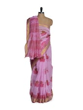 Elegant Pink Cotton Saree - Purple Oyster