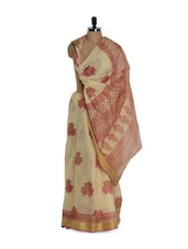 Beige And Pink Cotton Saree With Zari - Purple Oyster