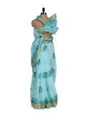 Gorgeous Blue Printed Cotton Saree In Zari - Purple Oyster