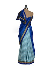 Half And Half Shaded Glamorous Blue Saree - Purple Oyster