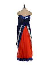 Red And Royal Blue Sequined Saree - Purple Oyster