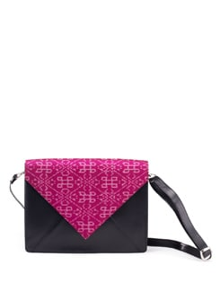 Ikat Fabric Flap Satchel In Black And Red - PRINCESSE K