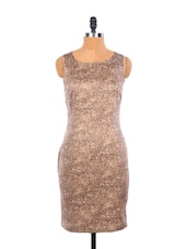 Unique Brown Animal Print Dress With A Back Slit - EIGHTEEN27