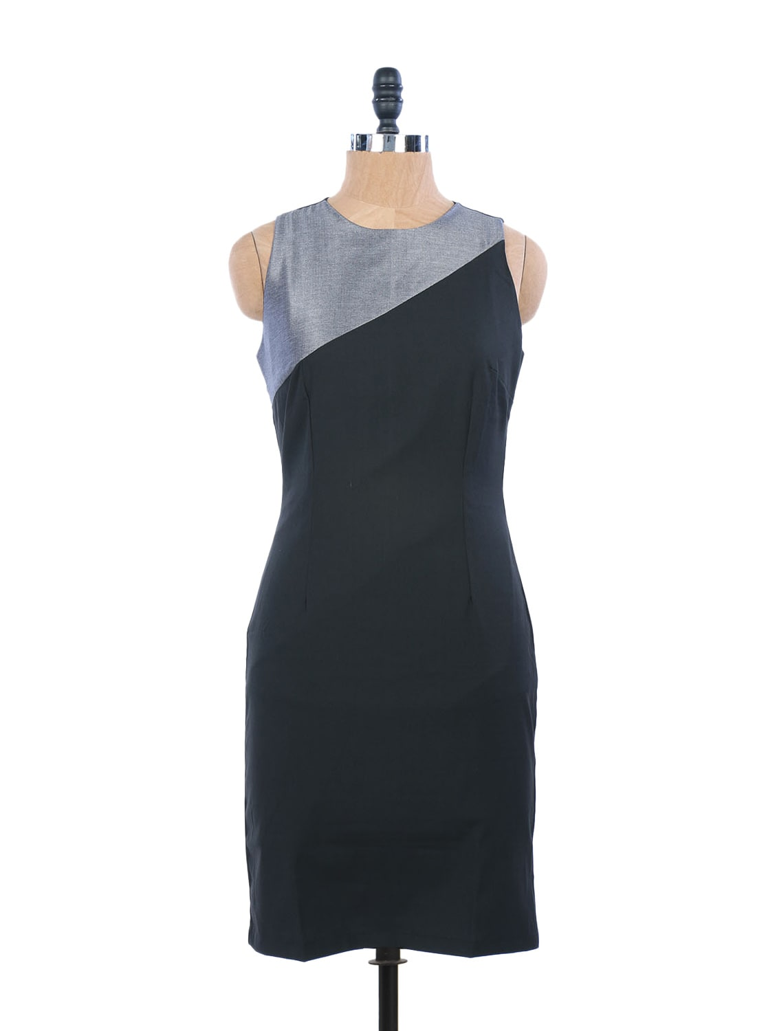 Black Summer Dress With A Back Slit And Grey Neck - EIGHTEEN27
