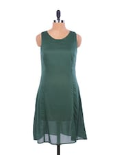 Emerald Green Flared Transparent Cut-sleeved Dress - EIGHTEEN27