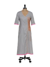 Light Grey Angrakha Style Kurta With Umbrella Sleeves - Desiweaves