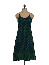 Stylish Navy Blue And Green Printed Cotton Kurta With A Frill Base - Desiweaves