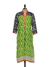 Leaf Print Kurta With Scribble Detail - NAVRITI